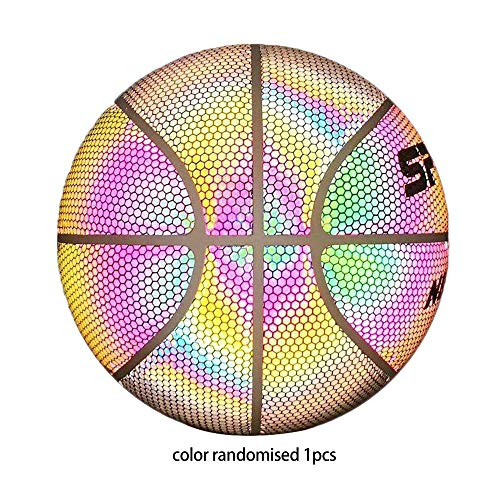 Erduo Glühender Basketball Fluoreszierender Basketball Moon Luminous Rainbow 7. Cool White Reflective Basketball
