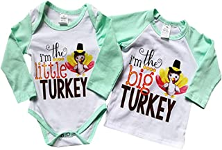 Thanksgiving Sibling Shirts Set Big Brother/Sister T-Shirt & Littler Brother/Sister Onesie Bodysuit Matching Outfit Set