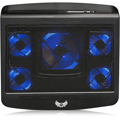 SKGAMES Notebook Laptop Kühler Gamer Kühlpad Ständer Kühlmatte Cooler Cooling Pad Unterlage für 10 - 17 Zoll, 5 x LED Lüfter, 2 x AN/AUS Schalter, 2 x USB-Port, Schwarz