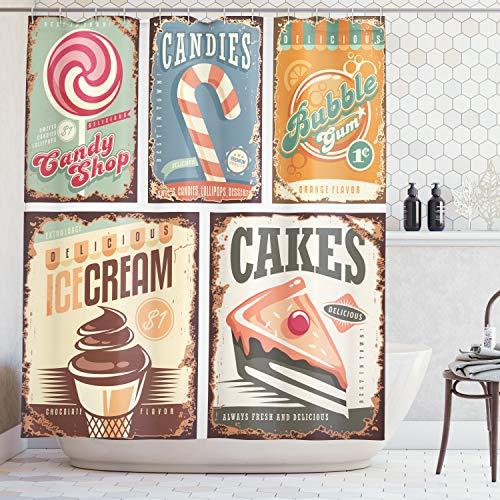 Lunarable Vintage Duschvorhang, nostalgisches 50er-Jahre Candy Store Design & Eiscreme & Kuchen & Bubble Gum Bild, Stoff Badezimmer Dekor Set mit Haken, 266,7 cm extra breit, hellgelb