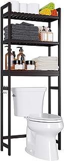 Homfa Bamboo Over-The-Toilet Storage Rack, 3-Tier Bathroom Freestanding Shelf with 6 Hooks Plant Stand Multipurpose Organi...