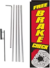 Free Brake Check Rectangle Feather Banner Flag with Pole Kit and Ground Spike for Outdoor Advertising, Large Signs for Auto Service and Repair Businesses