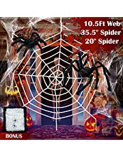 Giant Spider Web Halloween Spider Decorations, 2 Large Hairy Spiders, Super Stretch Cobweb, Spooky Spider Webbing for Outdoor Yard Haunted House Halloween Party Decor (10.5 ft White Spider Web Set)