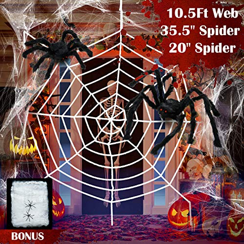 Red Gigante de Araña de Halloween Araña Grande Araña Pequeño Telaraña Elástica Decoración de Tela de Araña para Halloween Decoración de Patio al Aire Libre Decoración de Casa Embrujada (Estilo B)