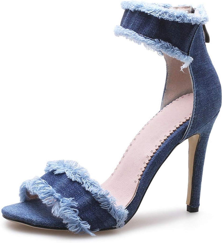 Women shoes Women Sandals Denim Platform All Match Thin High Heel Roun,