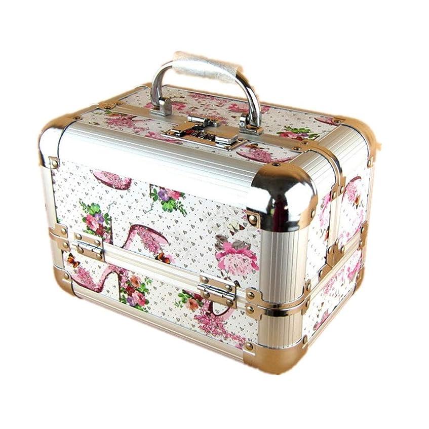 はげ純粋な消費化粧オーガナイザーバッグ 美容メイクアップと女性の女性のためのポータブルメイクトレインケースロックと折り畳みトレイとアルミフレームと日常のストレージ 化粧品ケース