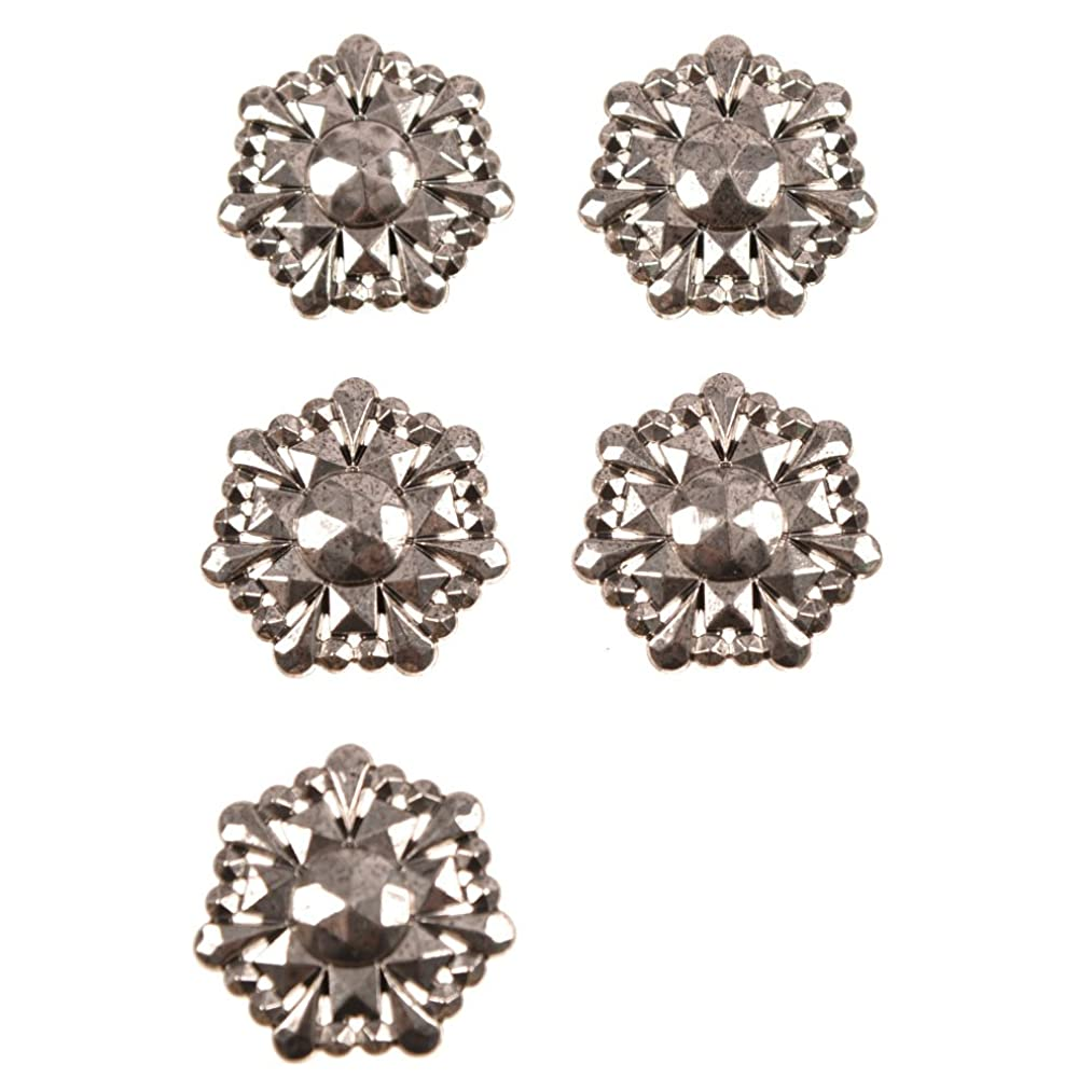 ABS Metal Plated Faceted Snow Flake Shape Shank Button 58 Line Ant. Nikel