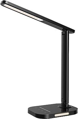 LITOM - Lámpara de escritorio LED, lámpara de mesa con luz nocturna con 5 colores y 10 niveles de luminosidad, carga USB, temporizador 1H, control táctil, función de memoria para lectura, trabajo, estudio, negro