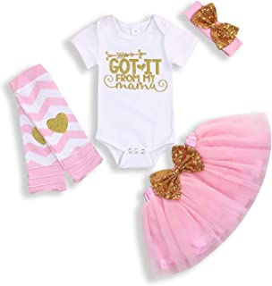 Infant Baby Girl Outfits Got It from My Mama Romper Short Sleeve Top Tutu Skirt Love Leg Warmer Headband 4pcs Clothes