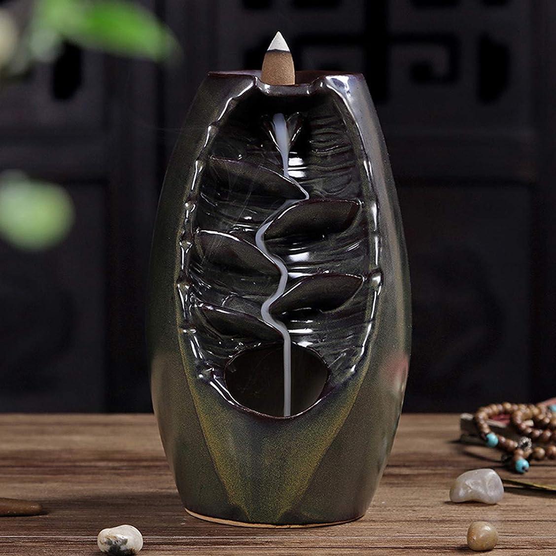 最も干渉ログVosarea 逆流香バーナー滝香ホルダーアロマ飾り仏教用品(茶)