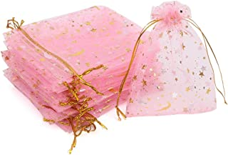 CCINEE 3.5x4.7 Inches Organza Bags Candy Gift Bags 100 Pieces (Stars and Moon Pink Bag)