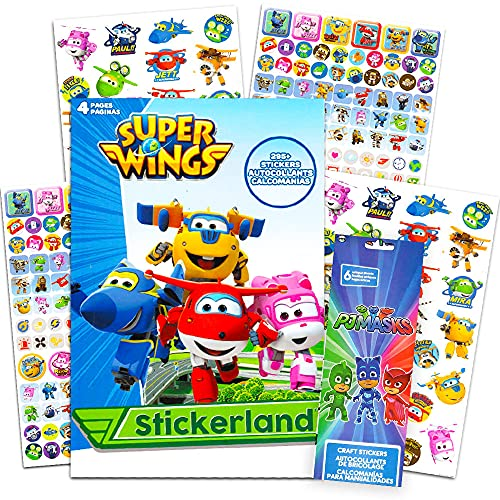 Super Wings Stickers Party Favors Pack - Over 295 Transforming Planes Stickers Plus 6 Sheets of PJ Masks Stickers (Super Wings Party Supplies)