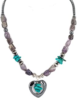 $280Tag Heart Silver Certified Navajo Turquoise Amethyst Native Necklace 18276-3 Made by Loma Siiva