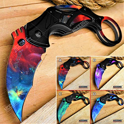 KCCEDGE BEST CUTLERY SOURCE Pocket Knife Camping Accessories Survival Kit Razor Sharp 7 Inch Karambit Tactical Knife Hunting Knife Camping Gear 78609 (Red)