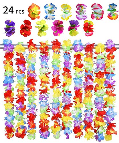 24 Stück Hawaii Blumen Halskette Set,BigLion Hawaii Blumenketten Hawaiian Hula Luau Blumen Leis Girlande Halskette Hawaii Haar Blumen Hibiskus Haarspangen HaarClips Tropisch Beach Party Gefälligkeiten