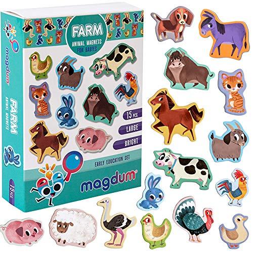 MAGDUM Calamite Bambini Animali Fattoria – Grandi calamite frigo bambini – Magneti per bambini – Giochi bambini 3 anni – Giochi educativi calamite per bambini -Magneti per bambini per TEATRO magnetico