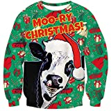 RAISEVERN Mens Ugly Christmas Cow Sweater Christmas Hats Snowflake Xmas Gifts Print Funny Hipster Crewneck Novelty Pullover Sweatshirt Green Red