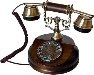 OPIS 1921 Cable - Modelo A - télefono Retro/telefono Fijo Vintage de Madera y Metal con Disco de marcar y Campana metálica