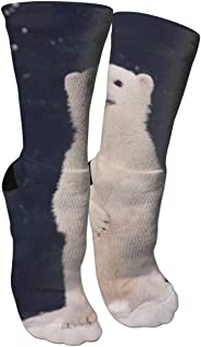 WAZNINA Polar Bear Baby Beauty Fashion Warm Winter Compression Socks Cotton Crew Socks One Size for Women and Men(15.8inch)