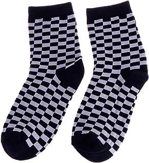 LDA Get Fresh Fashion Trends - Calcetines unisex de damero, diseño geométrico a cuadros, color blanco y negro, algodón, blanco y negro, 36-41EUR , 5-9.5 US
