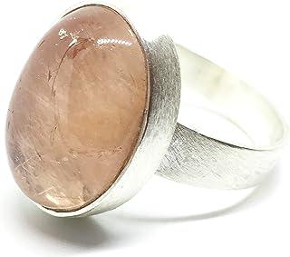 Bellissimo anello con Morganite pesca ovale naturale ipnotica e brillante misura 18 mm x 13 mm. Anello.