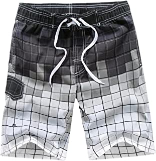 Yililay Men Beach Shorts Swimming Trunks Quick Dry Swim Suits for Board Bathing Casual Surfing Pants with Pocket M