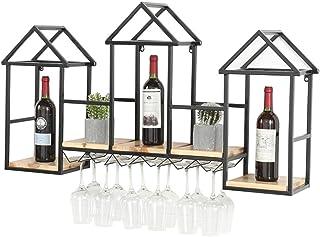 JFFFFWI Organisation de Rangement pour Cuisine Casier à vin créatif en Bois Massif  Porte-Bouteilles de vin Mural  Suppo...