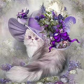CRPSEN DIY Diamond 5D Embroidery Purple Flower Cat Paintings Rhinestone Pasted DIY Christmas Painting Cross Stitch(19X19CM/7.5X7.5inch)