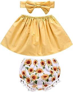 ggudd Niña Bebé Fuera del Hombro Vestido y Pololas Pantalones Cortos Venda Girasol Impreso Ropa 3 Piezas/Conjunto