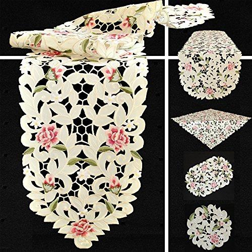 Quinnyshop Rosenblüten Durchbruchsstickerei Tischläufer 30 x 70 cm Oval Polyester, Creme