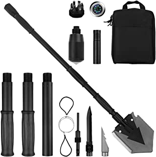 Yeacool Folding Shovel Pickax with Carrying Pouch Portable Tactical Army Spade Military Multitool for Outdoor Off Road Camping Hiking Backpacking Entrenching Digging Gardening Survival Vehicle Tool