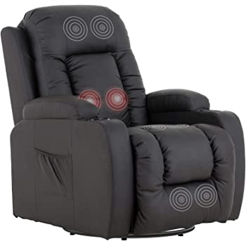 Mecor Massage Recliner Chair PU Leather Rocker with Heat 360 Degree Swivel Single Sofa Seat Ergonomic Lounge with Cup Holders/Side Pockets/Remote Control for Living Room (Brown)