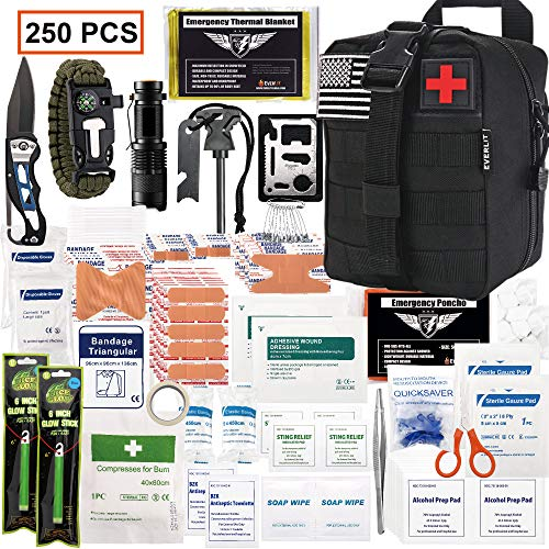EVERLIT 250 Pieces Survival First Aid Kit IFAK Molle System Compatible Outdoor Gear Emergency Kits Trauma Bag for Camping Boat Hunting Hiking Home Car Earthquake and Adventures (Black)