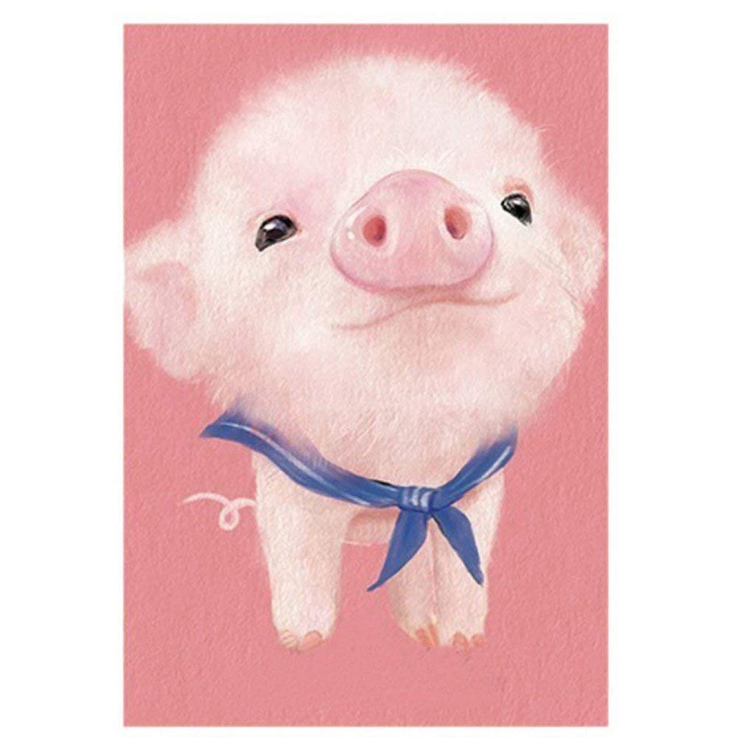 NYEBS DIY 5D Diamond Painting Kit for Adults Children, 5D DIY Diamond Painting Full Round Drill Animal Lovely Pink Pig Rhinestone Embroidery for Wall Decoration 12X16 inches …