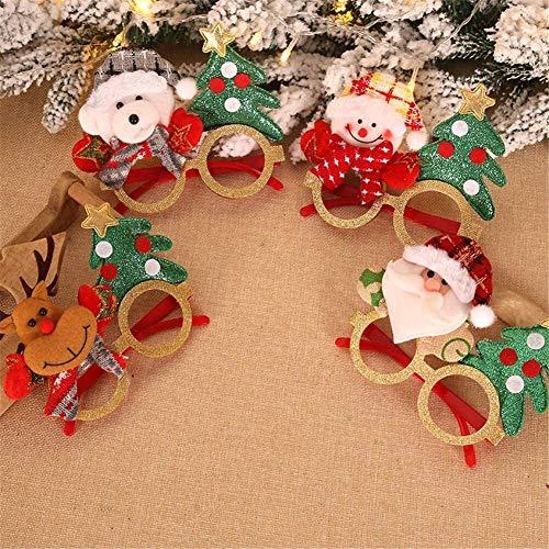 WNN-URG 4-Pack Weihnachtsfest Brille Glittered Dekoration Kostüm Brille Rahmen Unisex-Brillen for Feiertags-Party Dekoration Weihnachtsschmuck Geschenk URG