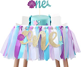 Baby Mermaid Skirt for 1st Birthday - Party Supplies for Highchair Tutu Skirt, First Birthday with One Pennant,Cake Topper...