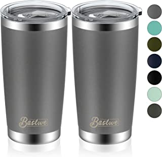 Bastwe 2 Pack 20oz Vacuum Insulated Tumblers with Lid and Straw, Double Wall Stainless Steel Travel Mug, Works Great for Ice Drink, Hot Beverage (Gray)
