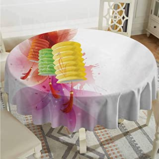 ScottDecor Dinning Round Tablecloth Lantern Mid Autumn Celebration Singapore China East Culture Festival Candles Happiness Multicolor Table Cover Diameter 70