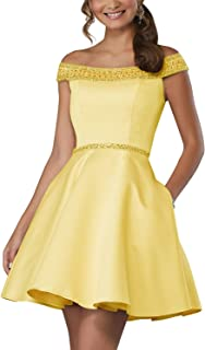 Off Shoulder Beaded Homecoming Dress 2018 Satin A-line Short Cocktail Prom Gown
