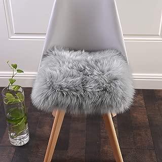 Softlife Faux Fur Sheepskin Area Rug Shaggy Wool Carpet for Bedroom Living Room Home Decor (1.6ft x 1.6ft Square, Grey)