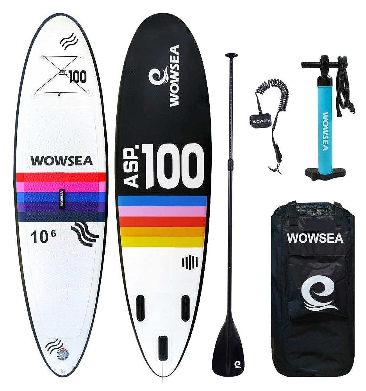 スリラービジュアル賢い彩色 SUP サップ インフレータブルパドルボード - WOWSEA AN5 長305cm 幅80cm 積載重量130kg マリンスポーツ 海 夏 釣り用SUP スタンドアップパドルボード フルセット