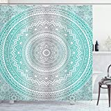 ABAKUHAUS Gris y Aqua Cortina de Baño, Tribu Mandala, Material Resistente al Agua Durable Estampa Digital, 175 x 200 cm, Aqua Gris