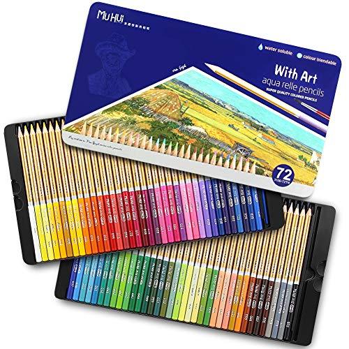 TOPERSUN Lápiz de Color 72 Soluble en Agua en Caja Metálica para Artistas Esbozadores Niños Adultos Regalo Ideal