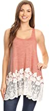 Anna-Kaci Womens Casual and Comfortable Loose Fit Tunic Tank Top with Lace Trim