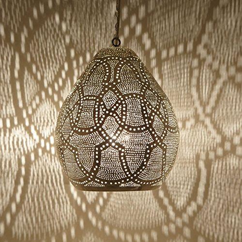 Orientalische Lampe marokkanische Hängelampe Saham D26 Silber aus Messing mit E27 Fassung | Kunsthandwerk aus Marokko | Prachtvolle Pendelleuchte wie aus 1001 Nacht | EL2240