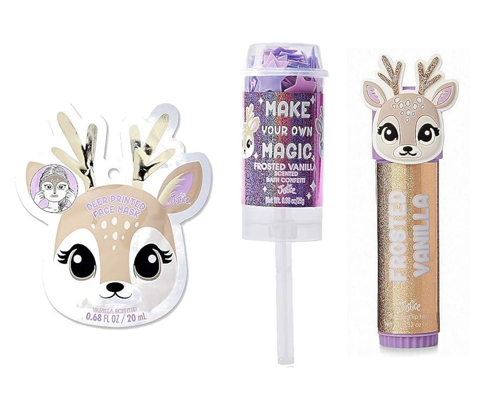 Justice For Girls Winter Deer Mask Lip Balm Bath Confetti Set