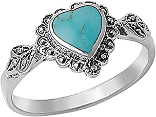 Sterling Silver Simulated Turquoise Vintage Style Heart Promise Ring 10mm (Size 4 to 10)