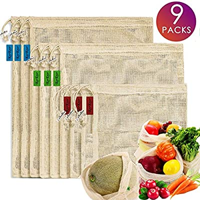 Reusable Cotton Mesh Produce Bags -Biodegradable Washable Eco-Friendly Premium See Through Lightweight Net-zero Bulk Bags for Veggie Fruit Vegetable Toys Grocery-Supermarket Shopping Storage Set of 9