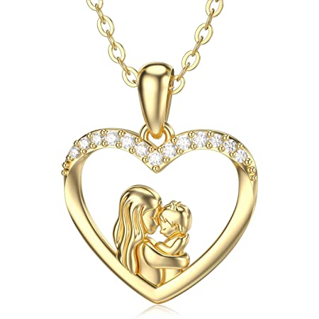 003 Forever Love Heart Necklace 18k Yellow Gold Finish Unique Gifts Store Happy Mothers Day for Mother in Law