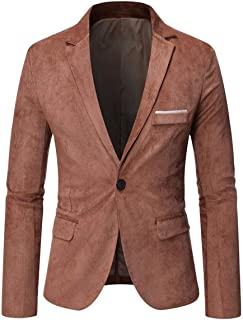 YOUTHUP Mens Corduroy Blazer Slim Fit 1 Button Lightweight Suit Jacket Casual Chic Blazers